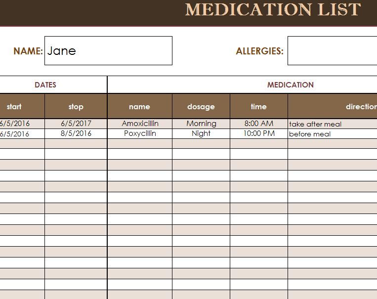 Medication List Template - My Excel Templates