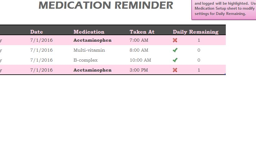Medication Reminder Sheet - My Excel Templates