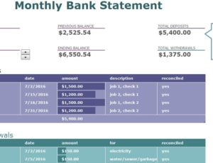 Monthly Bank Statement