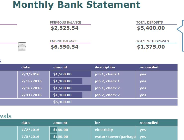 Monthly Bank Statement - My Excel Templates