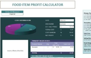 restaurant food calculator my excel templates