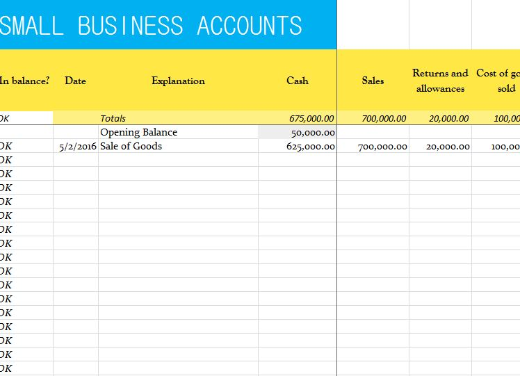 small business accounts sheet