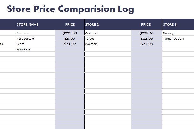 Store price comparison log my excel templates for Side by side comparison template excel