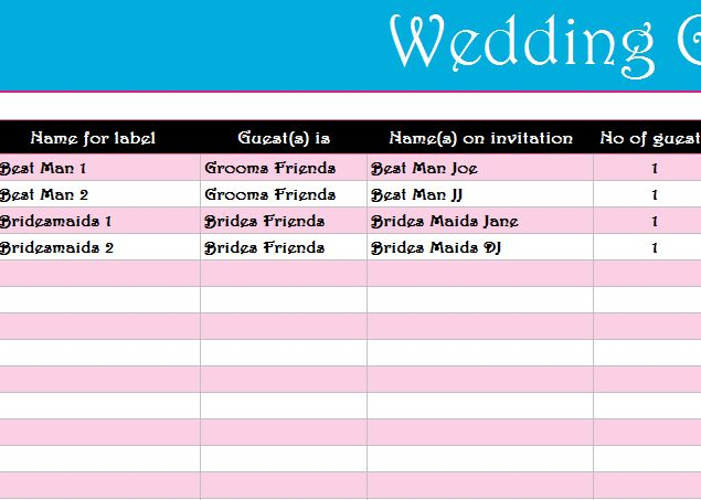 wedding guest list register