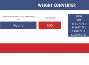 Weight conversion Template