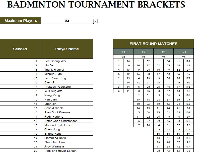 Badminton tournament schedule my excel templates for Tournament spreadsheet template