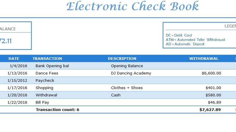 Electronic Check Book - My Excel Templates
