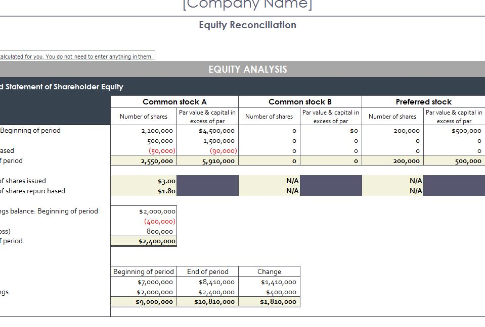 Equity Reconciliation Report My Excel Templates
