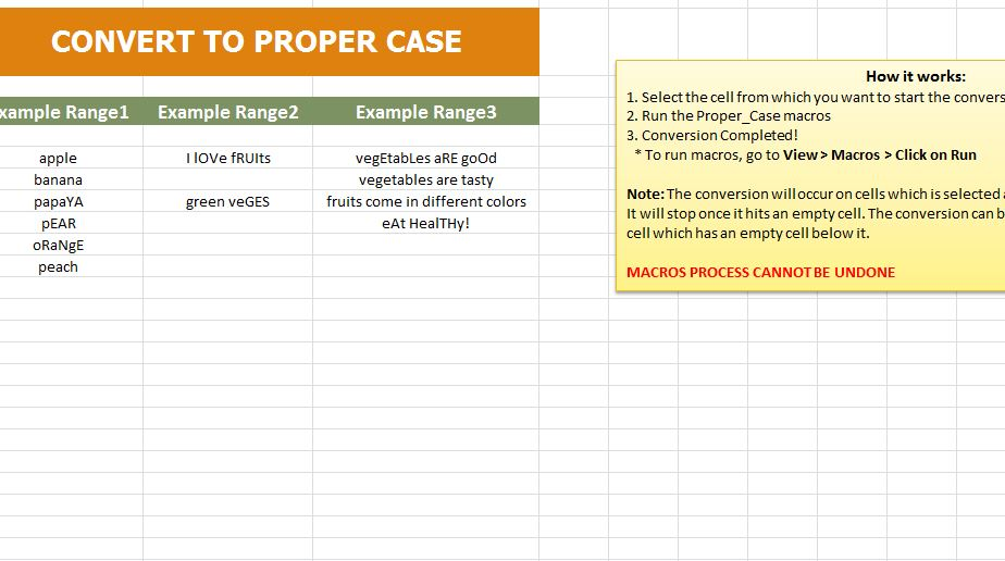 convert to proper case excel template and guide