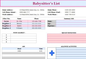 Babysitter's List Template