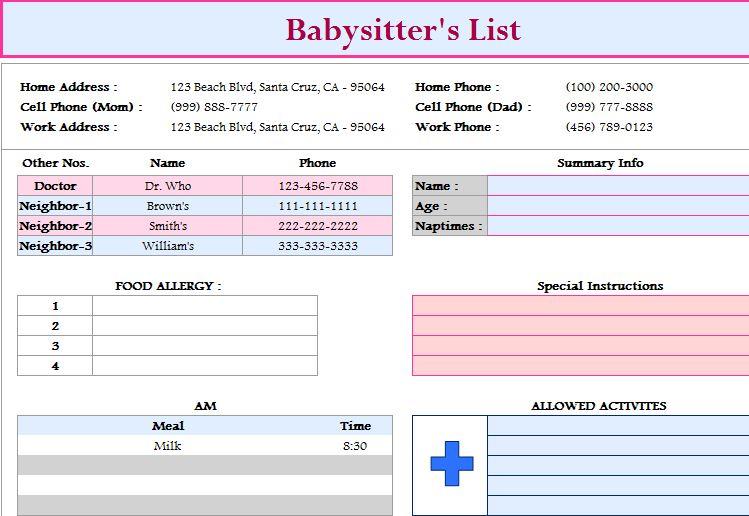 babysitter u2019s list template