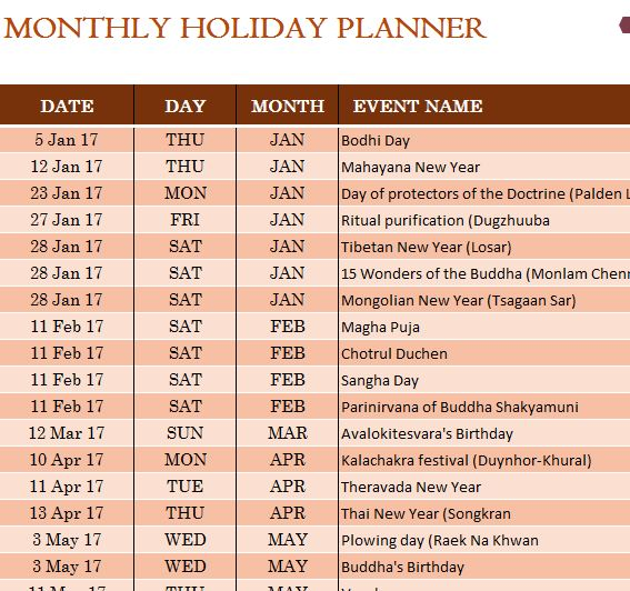 buddhist holiday calendar