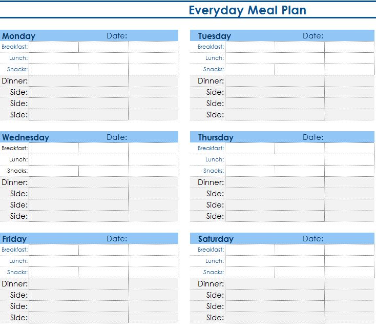 daily meal planner my excel templates. Black Bedroom Furniture Sets. Home Design Ideas