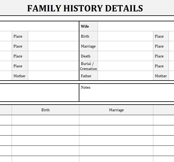Family history records my excel templates for Family history charts templates