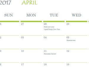Hindu Holidays Calendar Template