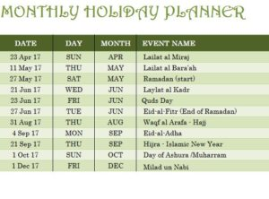 Islamic Holiday Calendar Template