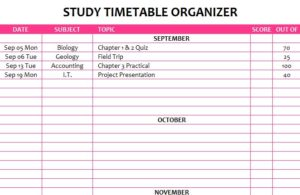 Study Timetable Organizer - My Excel Templates
