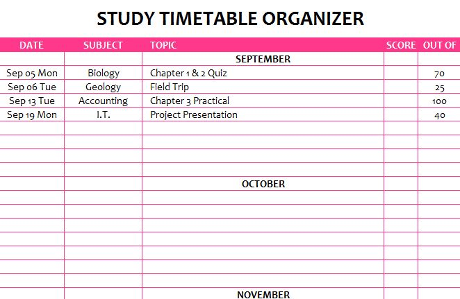 Study Timetable Supported Study Timetable Here Is My Study Time