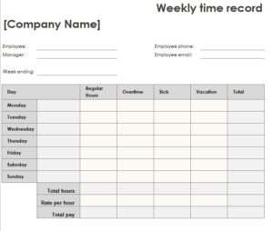Weekly Time Sheet | Weekly Time Sheet My Excel Templates