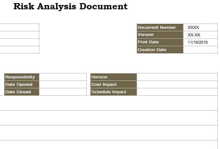Risk analysis document my excel templates for Risk documentation template