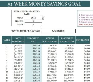 52 Week Money Savings Goal