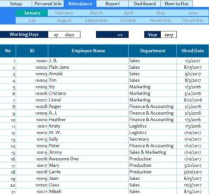 employee attendance spreadsheet template