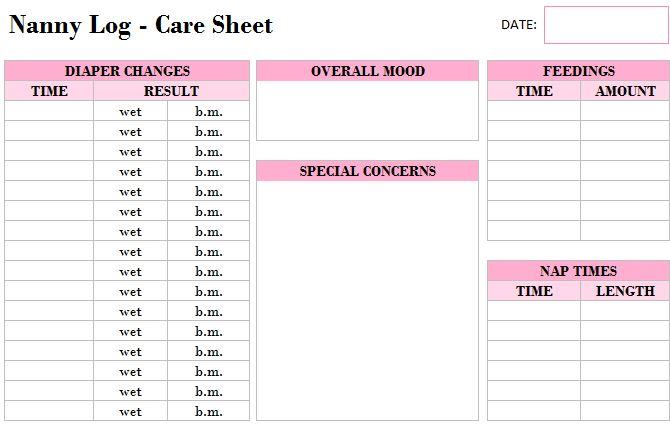 Printable Nanny Log Template - My Excel Templates
