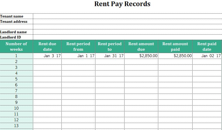 Rent Pay Records  My Excel Templates