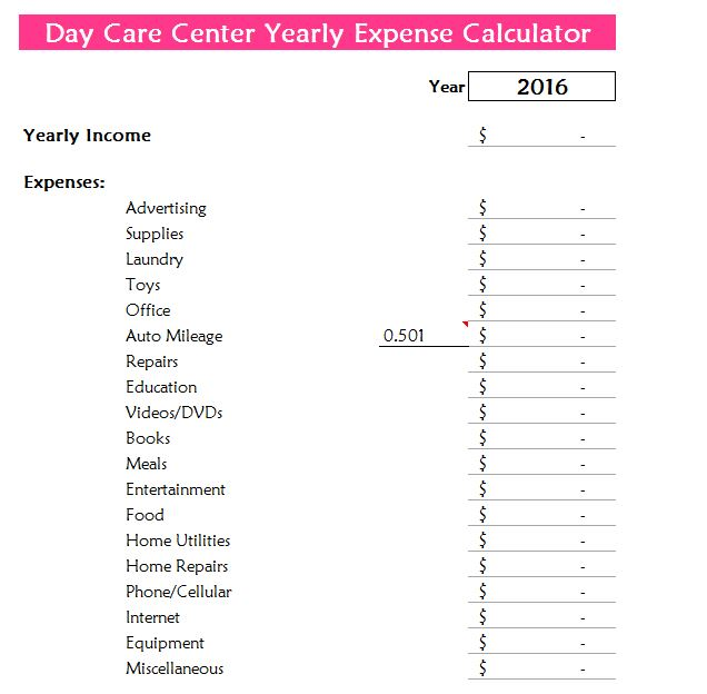 day care center yearly expense calculator  day care estimator
