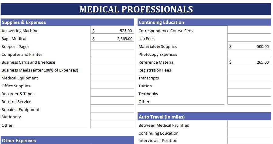 medical professionals expense calculator  estimate