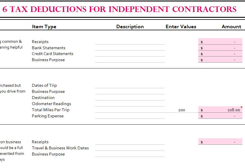 6 Tax Deductions For Independent Contractors My Excel