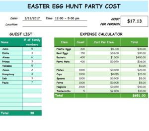 Easter Egg Hunt Party Cost