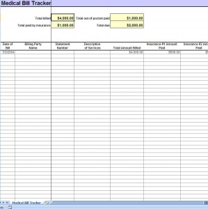 screenshot of the Medical Bill Tracker
