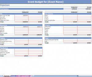 event budgeting excel template screenshot