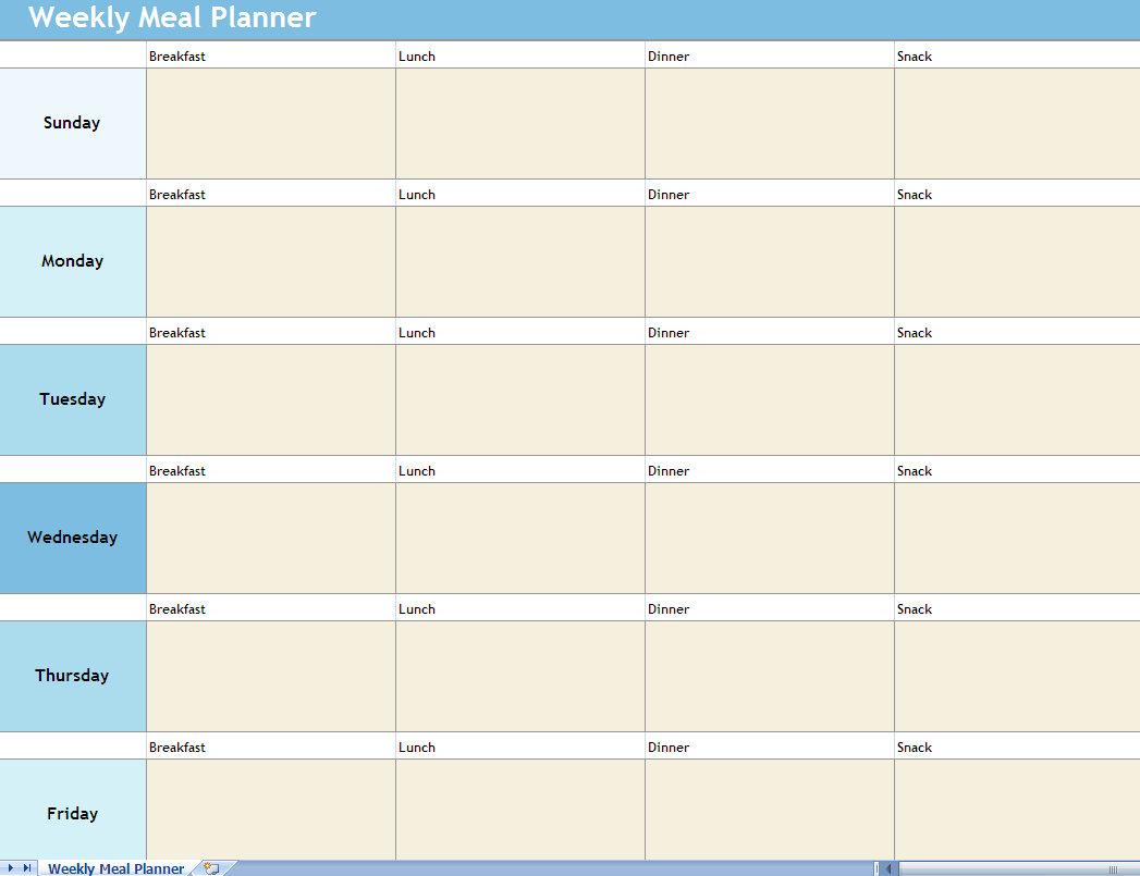 Weekly Meal Planner Excel Spreadsheet Weekly Meal Planner