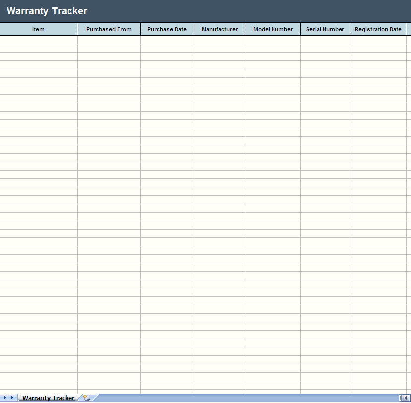 Warranty Tracker Excel Worksheet Warranty Tracker