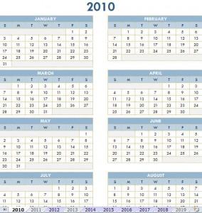 free calendar for year 2010