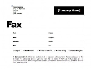 fax coversheet template
