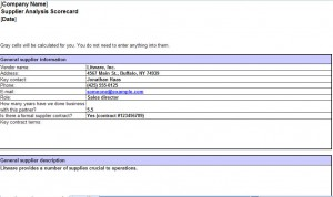 Free Supplier Scorecard Excel Template