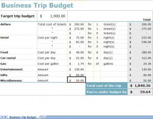 business budget worksheet