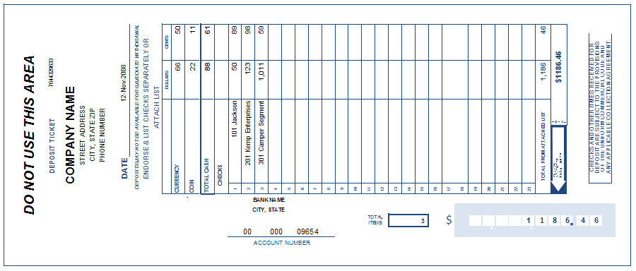 This is an image of Bank Deposit Slips Printable pertaining to account number