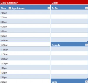 Printable Blank Daily Calendar Page