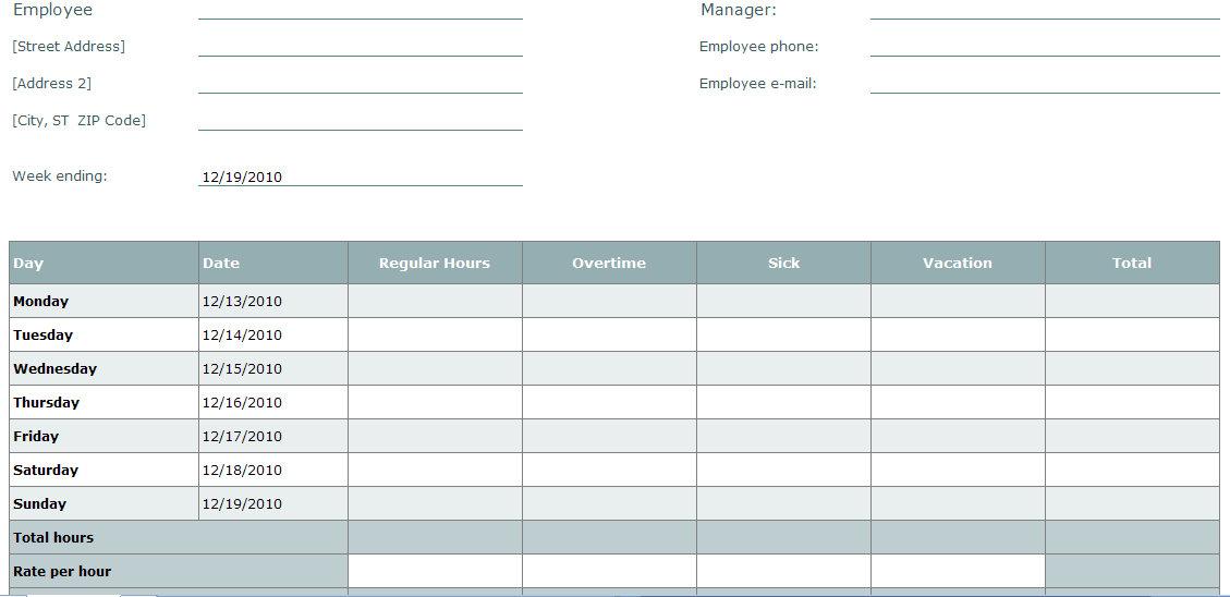 Blank Time Sheet Form Employee Timesheet