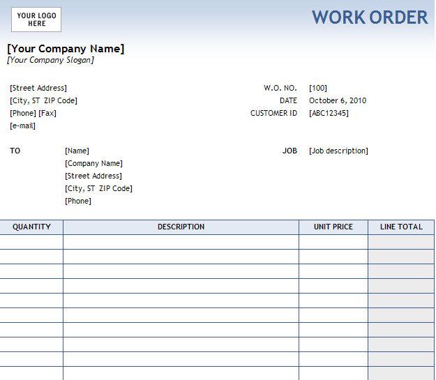 Work Order Form Work Order Form Template