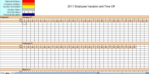 2011 employee vacation calendar