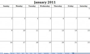 2011 printable monthly calendar template