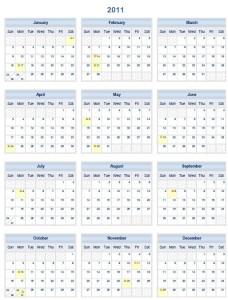 2011 Printable One Page PDF Calendar