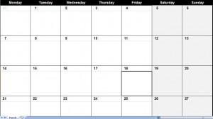 march 2011 excel calendar