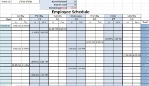 printable work schedule template