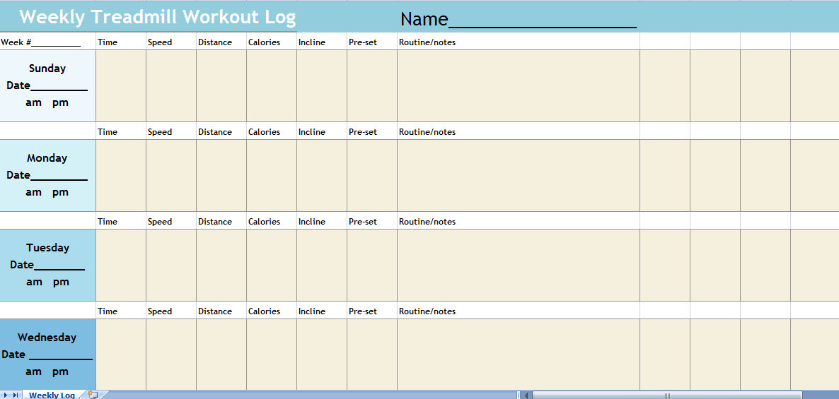 Treadmill Log Spreadsheet Treadmill Workout Log